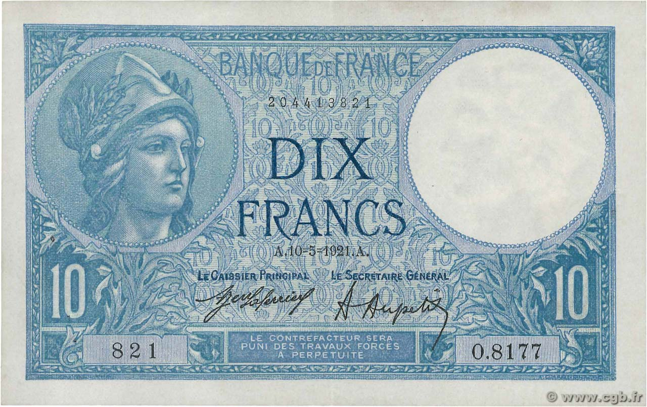 10 Francs MINERVE FRANCE  1921 F.06.05 XF