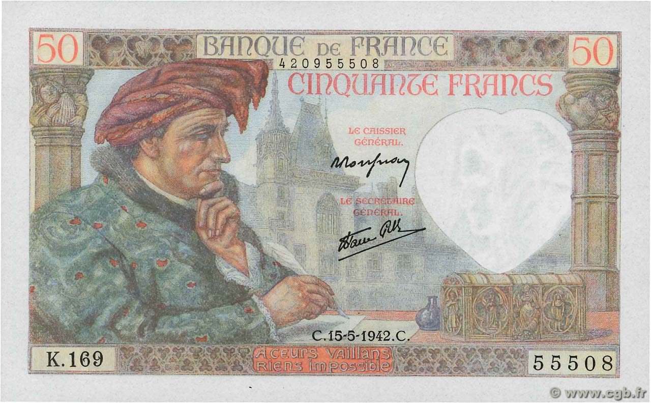 50 Francs JACQUES CŒUR FRANCE  1942 F.19.20 UNC