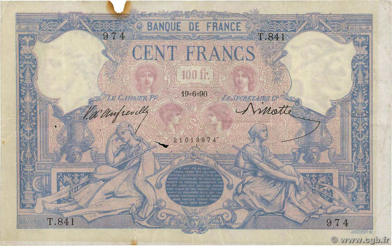 100 Francs BLEU ET ROSE  FRANCE  1890 F.21.03 TB