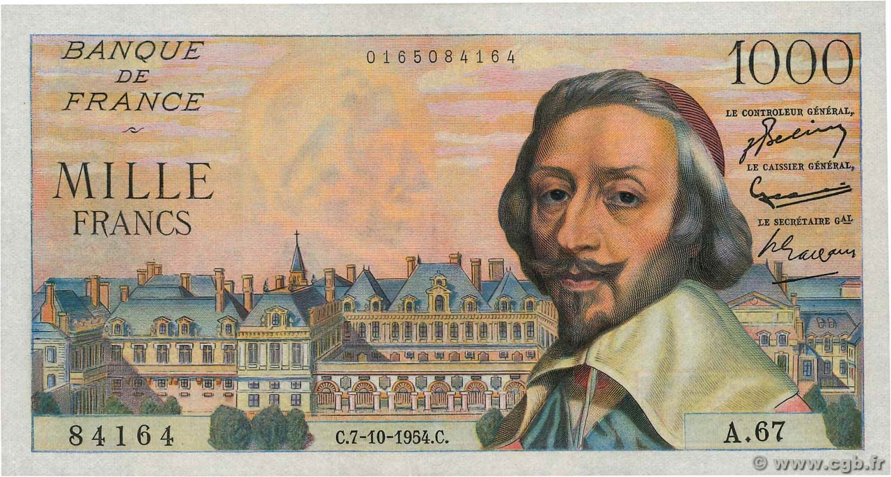 1000 Francs RICHELIEU  FRANCE  1954 F.42.08 SPL+