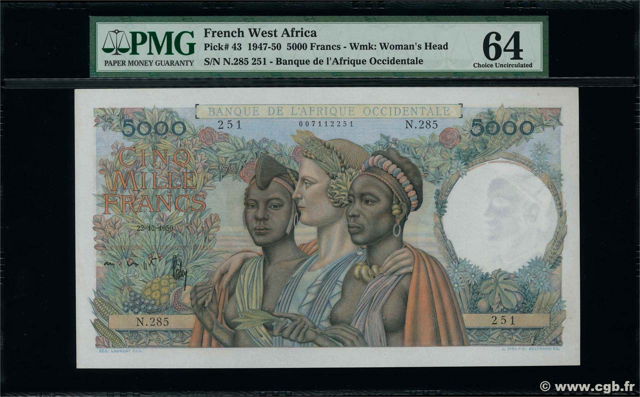 5000 Francs FRENCH WEST AFRICA  1950 P.43 UNC-