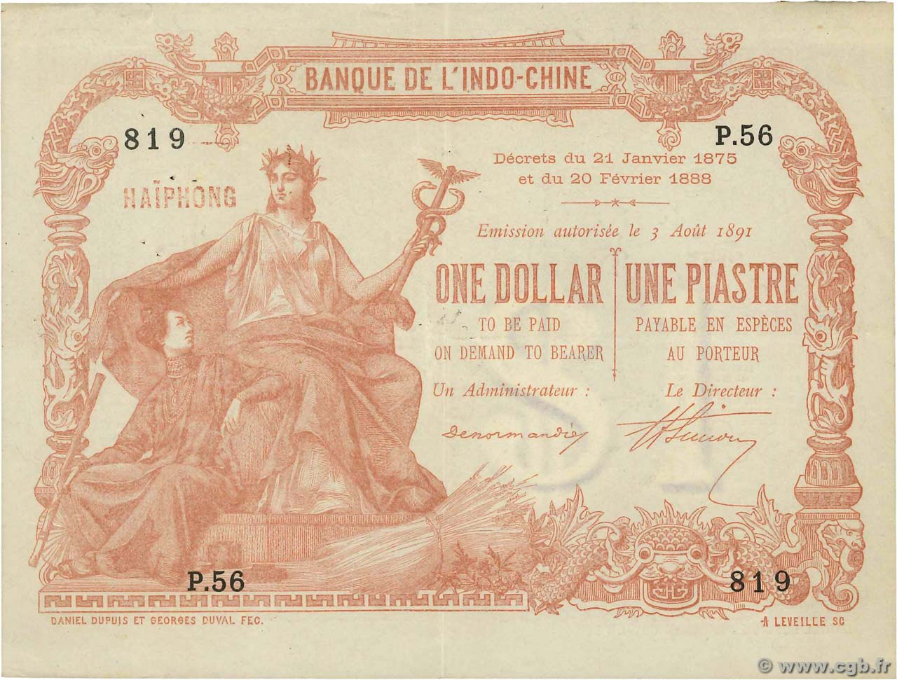 1 Dollar - 1 Piastre FRENCH INDOCHINA  1891 P.005 XF