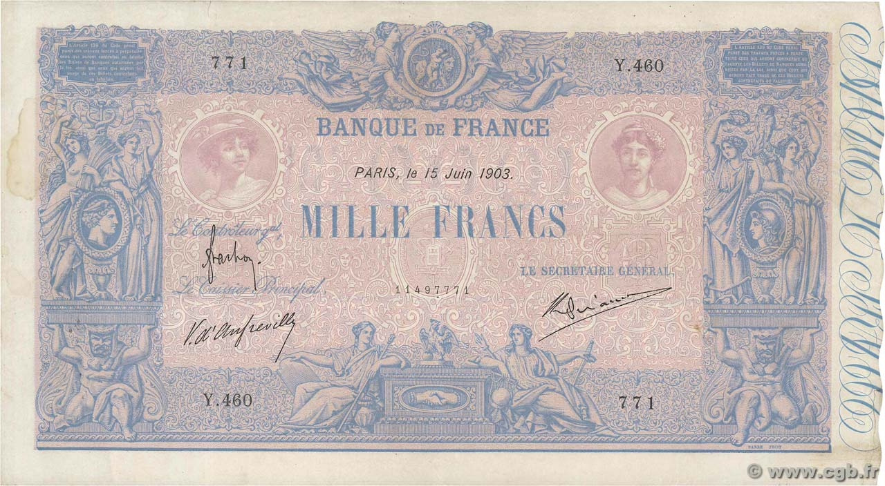 1000 Francs BLEU ET ROSE  FRANCE  1903 F.36.17 TTB+