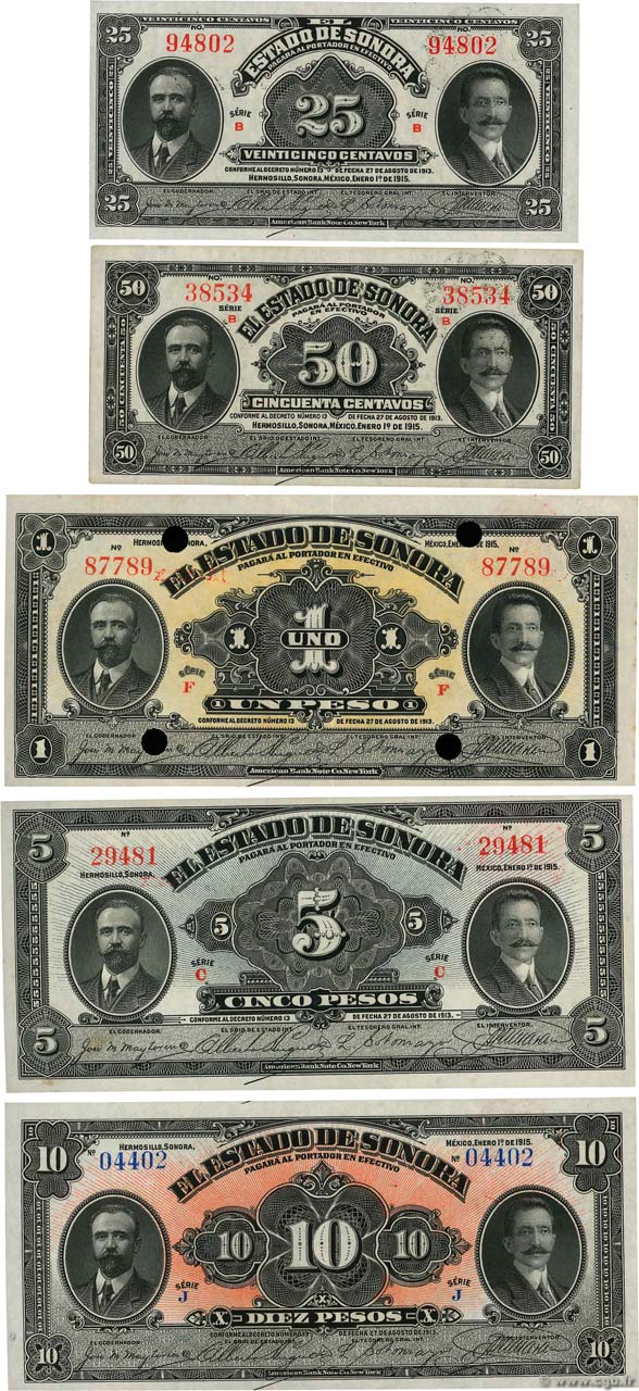 Lot de cinq Billets Lot MEXIQUE Hermosillo 1915 PS.1069 au PS.1073 SPL+