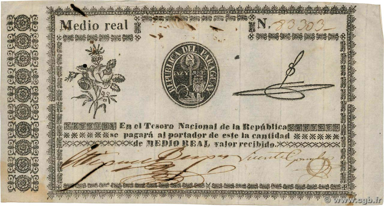1/2 Real  PARAGUAY  1856 P.001 SUP