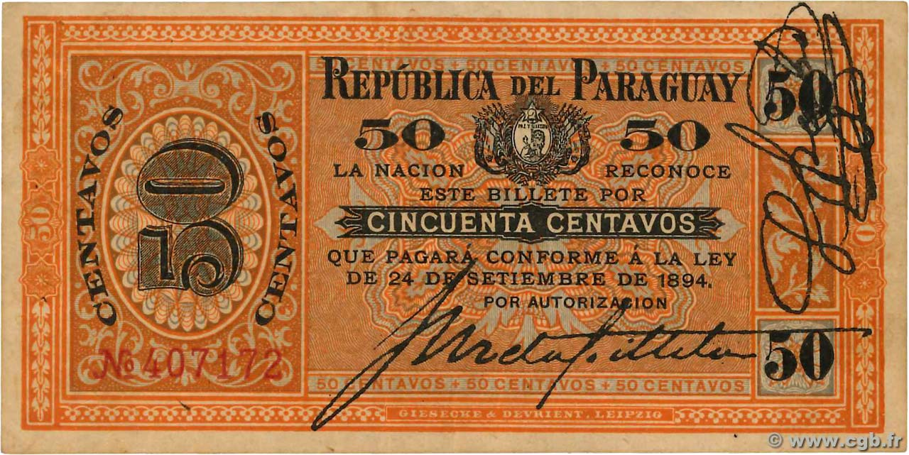 50 Centimos  PARAGUAY  1894 P.087 SUP