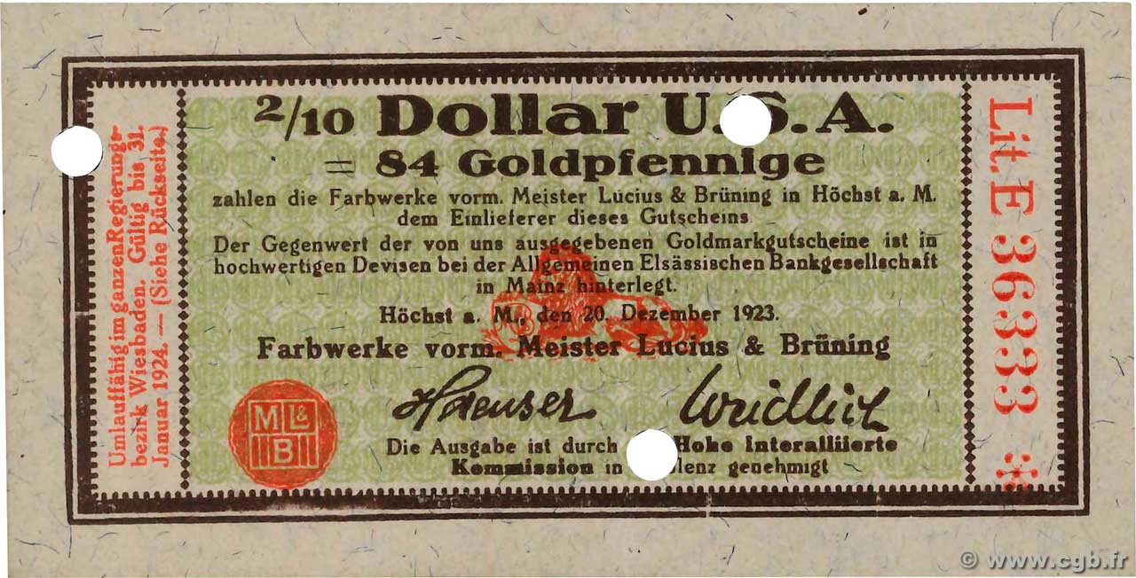 2/10 Dollar GERMANY Hochst 1923 Mul.2525.14 UNC-