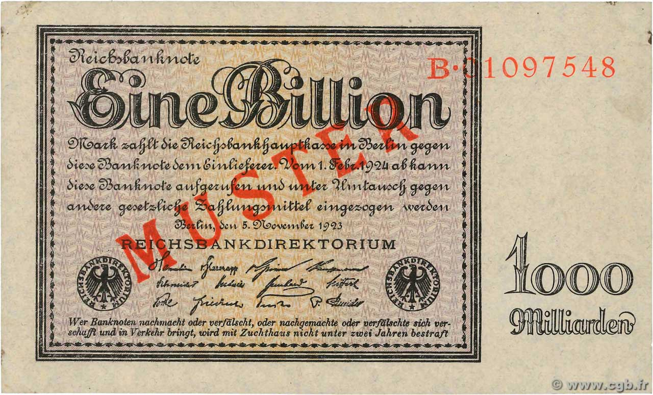 1 Billion Mark Spécimen ALLEMAGNE  1923 P.134s SPL
