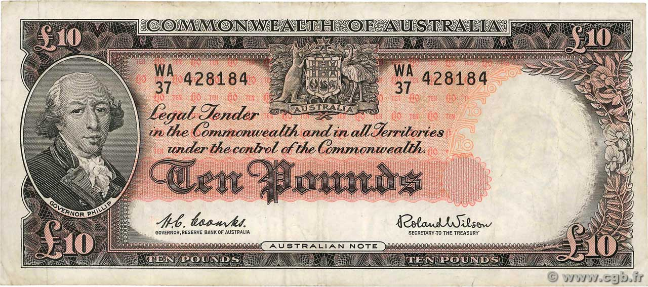 10 Pounds AUSTRALIA  1954 P.36a VF