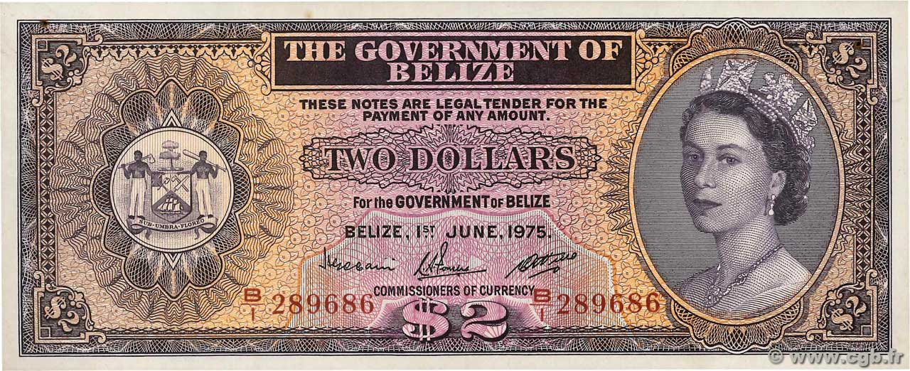 2 Dollars BELIZE  1975 P.34b SUP+