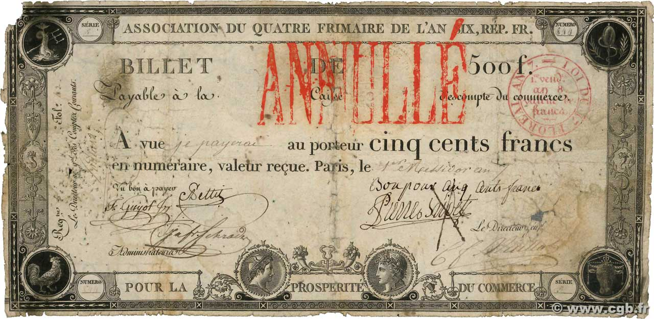 500 Francs type An6 Annulé FRANCIA  1799 PS.253 B