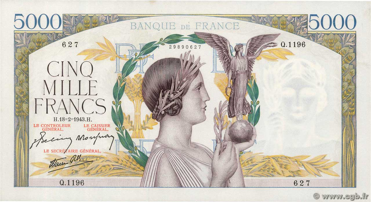 5000 Francs VICTOIRE Impression à plat FRANCE  1943 F.46.48 SUP+