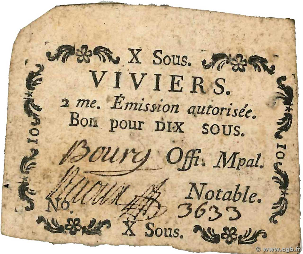 10 Sous  FRANCE regionalism and miscellaneous Viviers 1792 Kc.07.201 VF