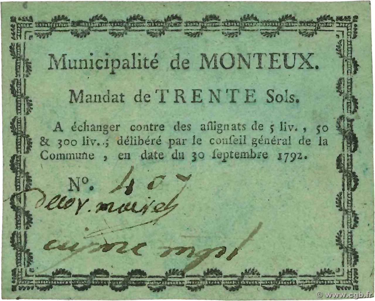 30 Sols  FRANCE regionalism and miscellaneous Monteux 1792 Kc.26.109 XF
