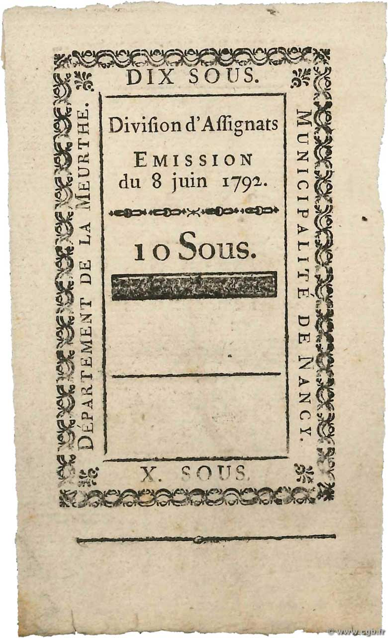10 Sous Non émis FRANCE regionalism and miscellaneous Nancy 1792 Kc.54.054d XF