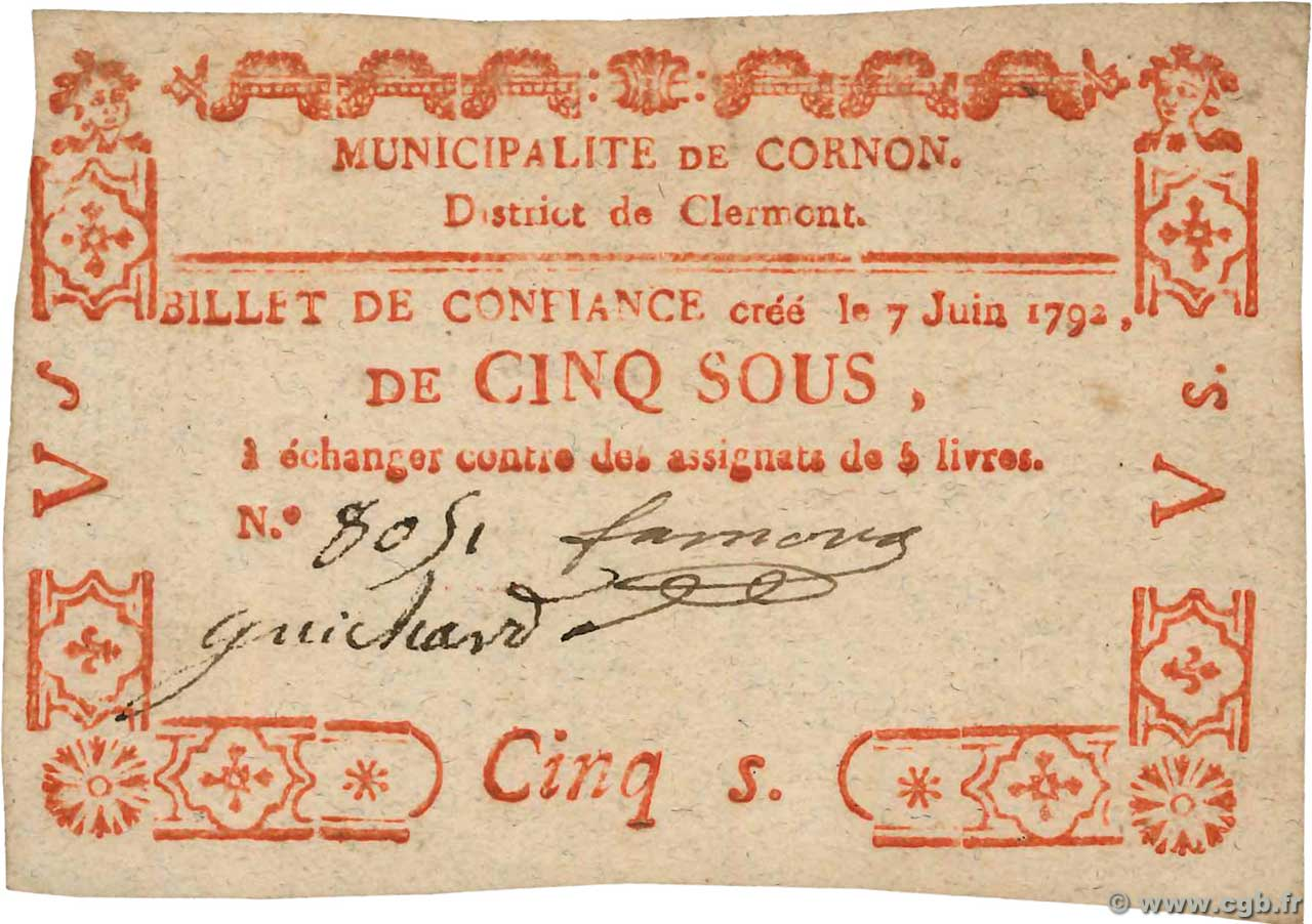 5 Sous FRANCE regionalism and miscellaneous Cornon 1792 Kc.63.071 VF