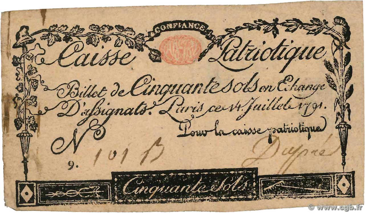 50 Sols FRANCE regionalism and miscellaneous Paris 1791 Kc.75.064 F