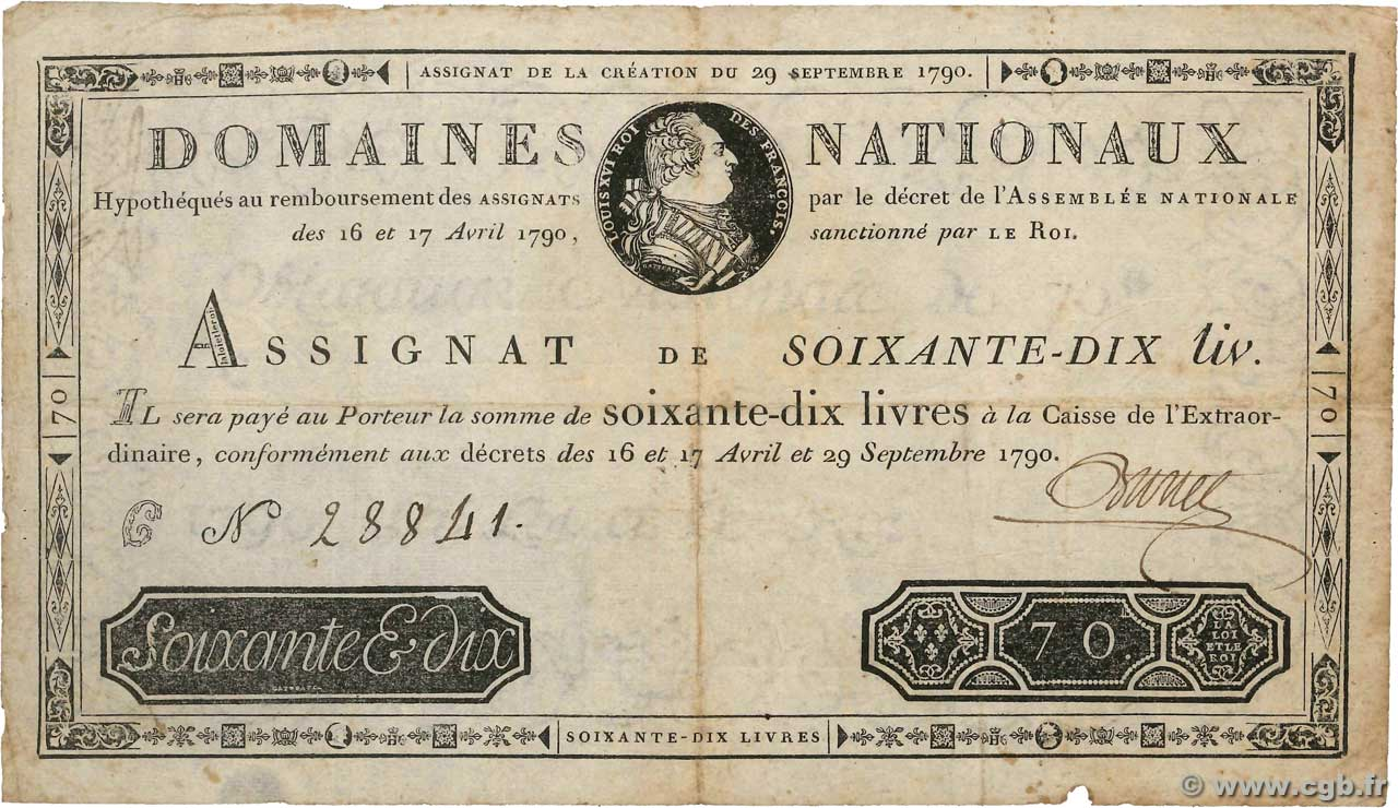 70 Livres  FRANCE  1790 Ass.06a F-