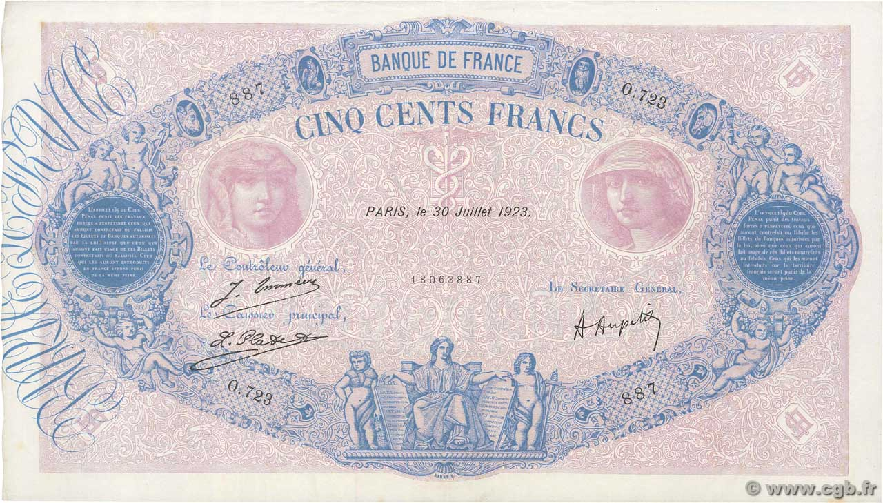 500 Francs BLEU ET ROSE  FRANCE  1923 F.30.27 XF