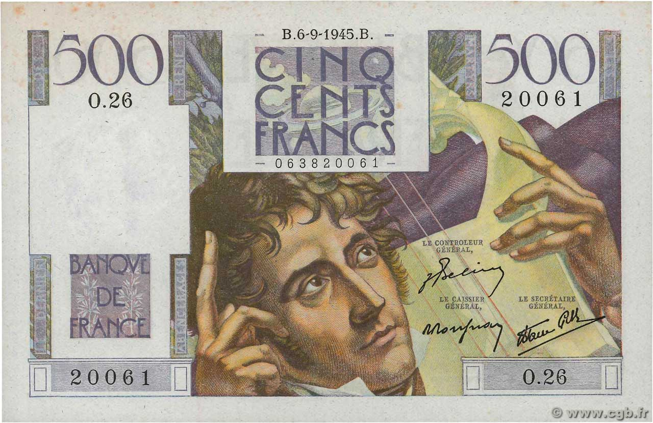 500 Francs CHATEAUBRIAND  FRANCE  1945 F.34.02 AU+