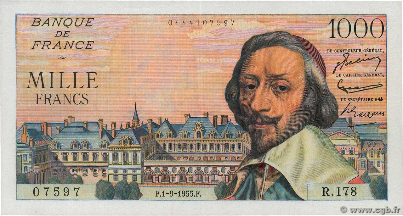 1000 Francs RICHELIEU  FRANCE  1955 F.42.15 AU
