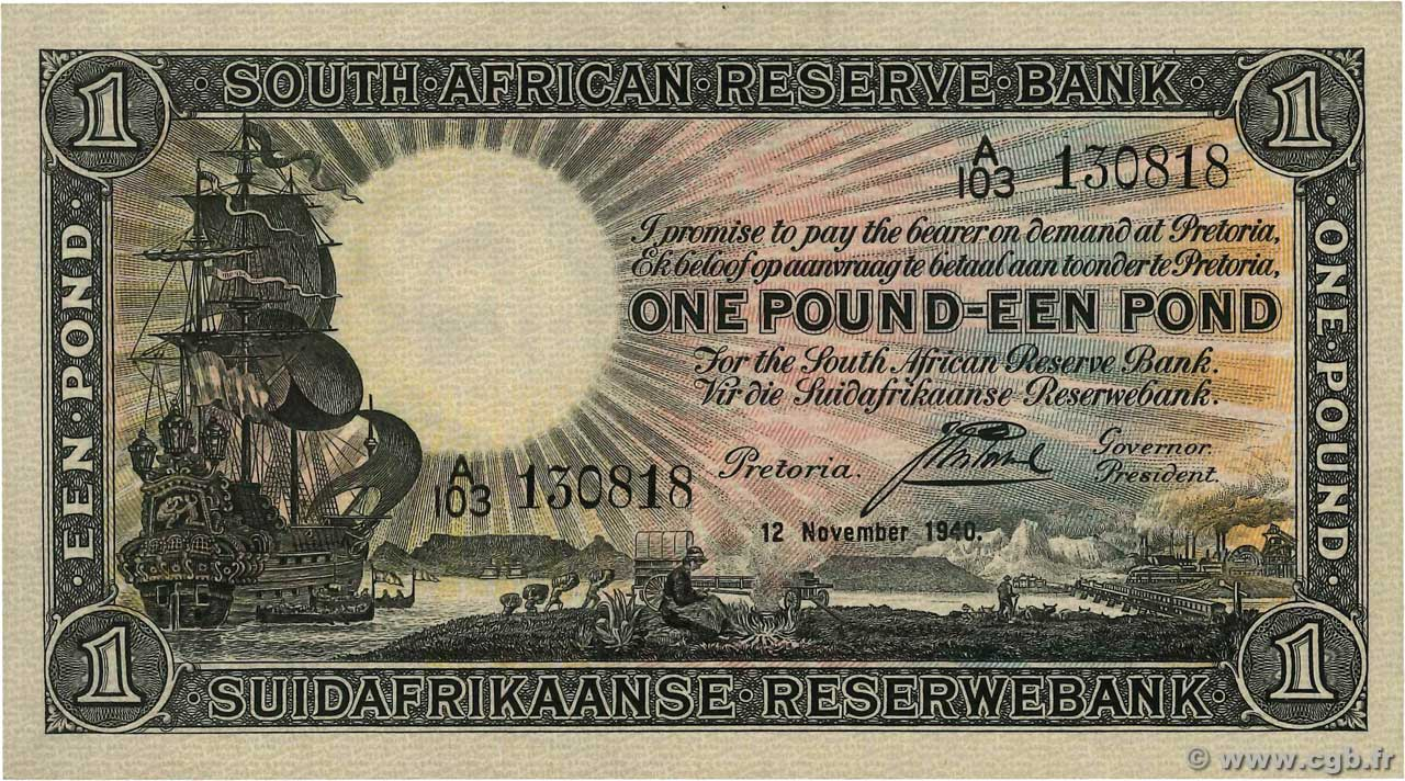 1 Pound  SOUTH AFRICA  1940 P.084e XF