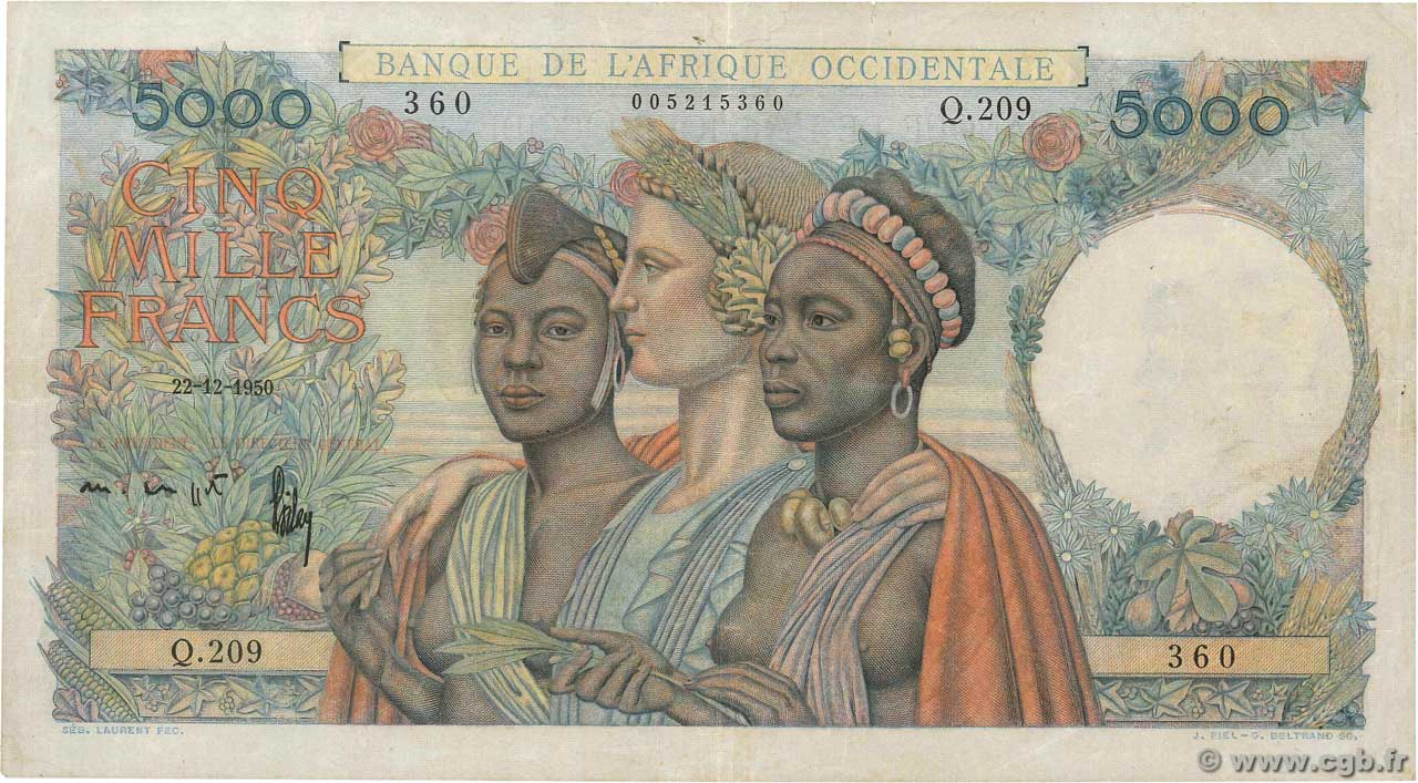 5000 Francs  FRENCH WEST AFRICA (1895-1958)  1950 P.43 VF