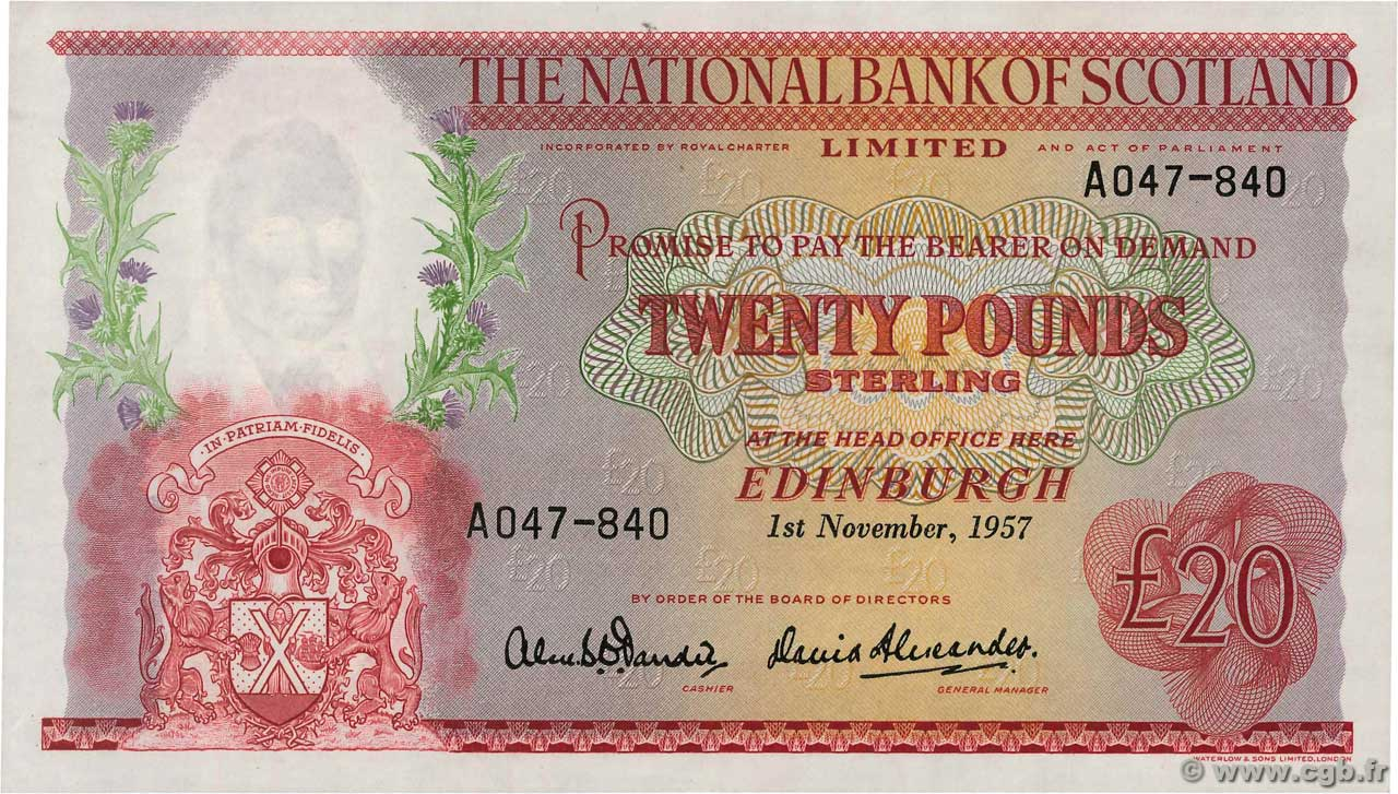 20 Pounds  SCOTLAND  1957 P.263 AU
