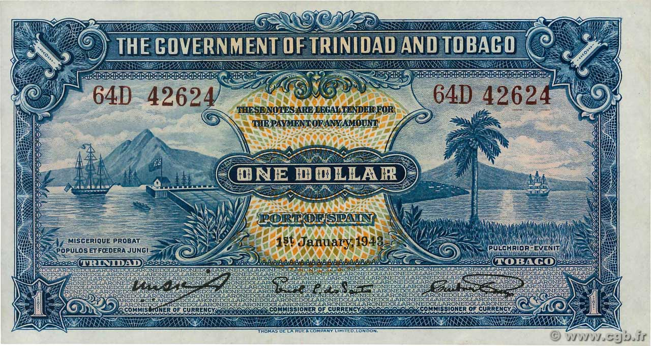 1 Dollar  TRINIDAD and TOBAGO  1943 P.05c UNC-