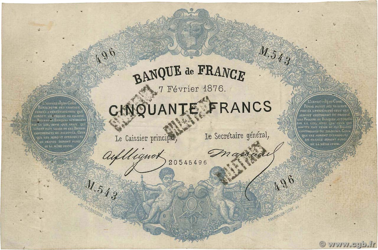 50 Francs type 1868 Indices Noirs Faux FRANCE  1876 F.A38.10x TTB