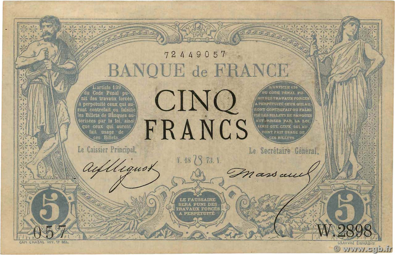 5 Francs NOIR  FRANCE  1873 F.01.20 SUP