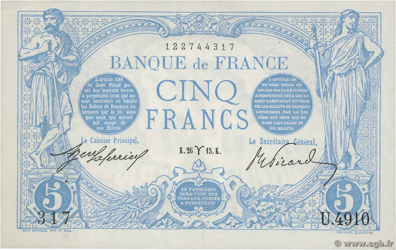 5 Francs BLEU  FRANCE  1915 F.02.25 SUP+