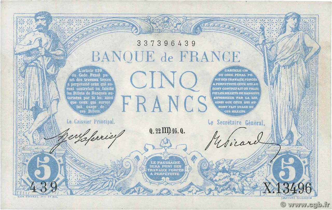 5 Francs BLEU  FRANCE  1916 F.02.42 SPL