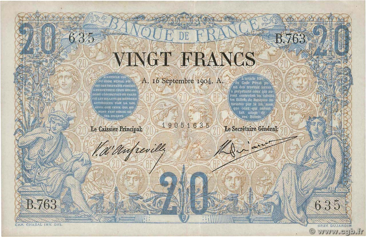 20 Francs NOIR  FRANCE  1904 F.09.03 SUP