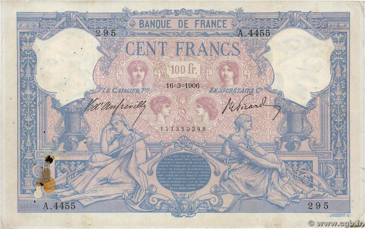 100 Francs BLEU ET ROSE  FRANCE  1906 F.21.20 TB+