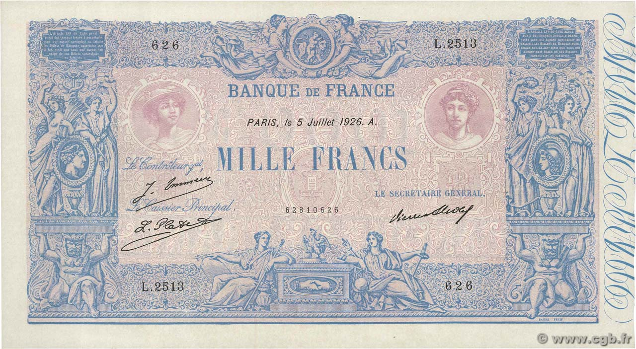 1000 Francs BLEU ET ROSE  FRANCE  1926 F.36.43 SUP