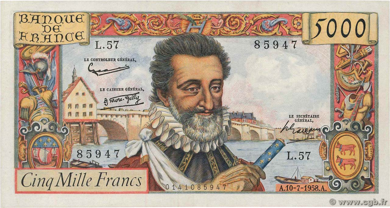 5000 Francs HENRI IV  FRANCE  1958 F.49.07 SUP