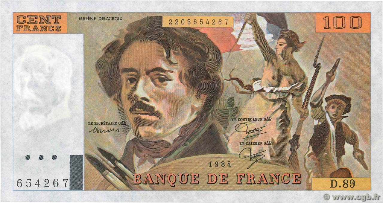 100 Francs DELACROIX UNIFACE  FRANCE  1995 F.69U.08 SPL