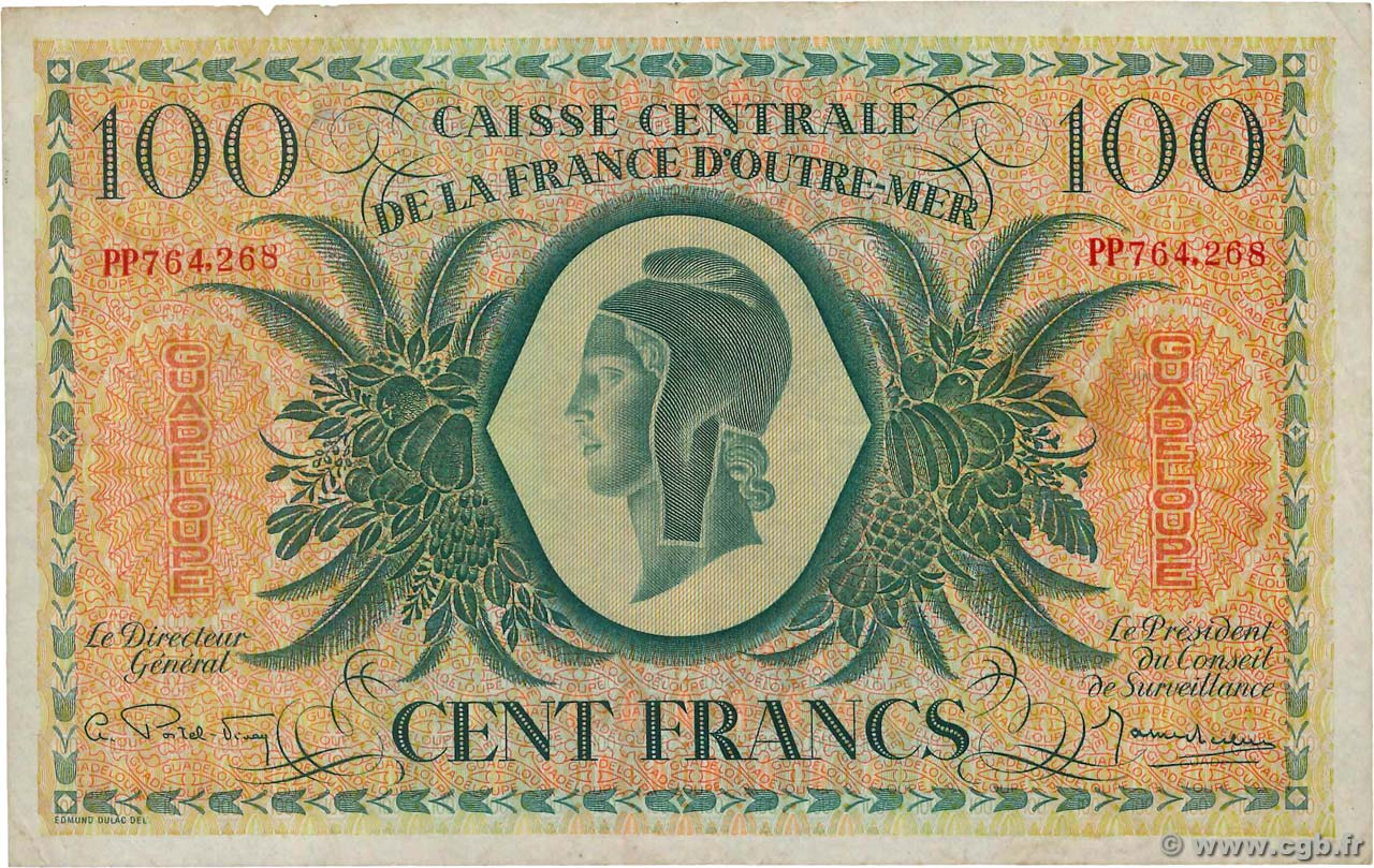 100 Francs Marianne Type anglais  GUADELOUPE  1944 P.29a TB