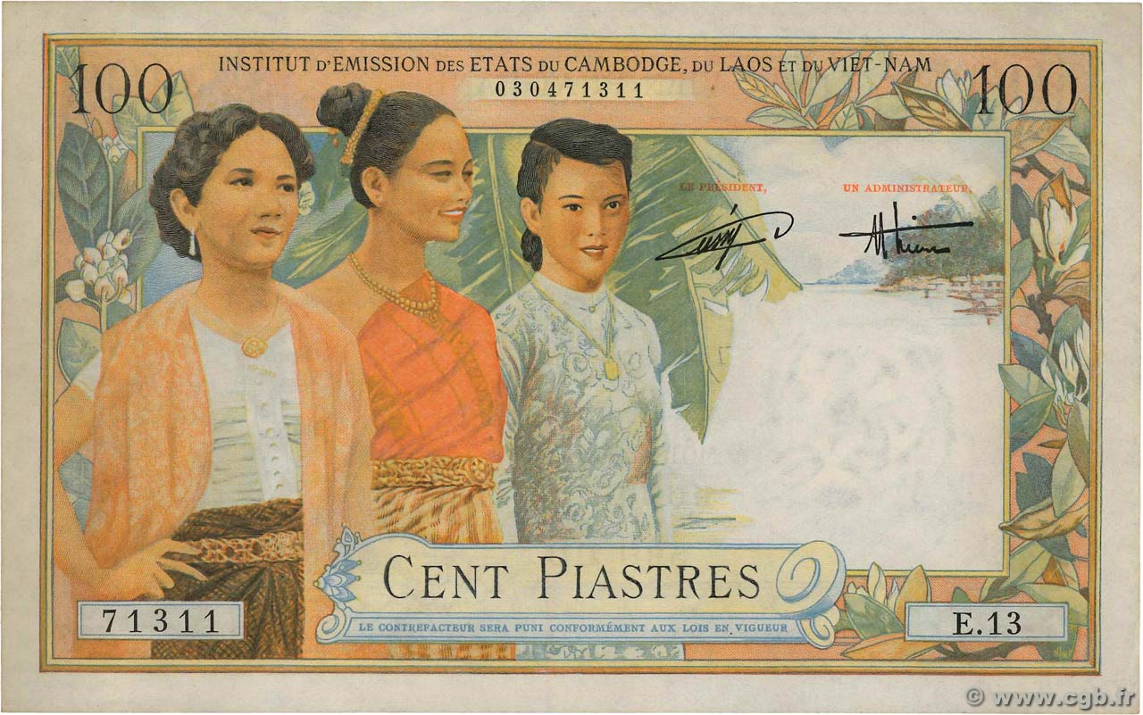 100 Piastres - 100 Dong FRENCH INDOCHINA  1954 P.108 XF+