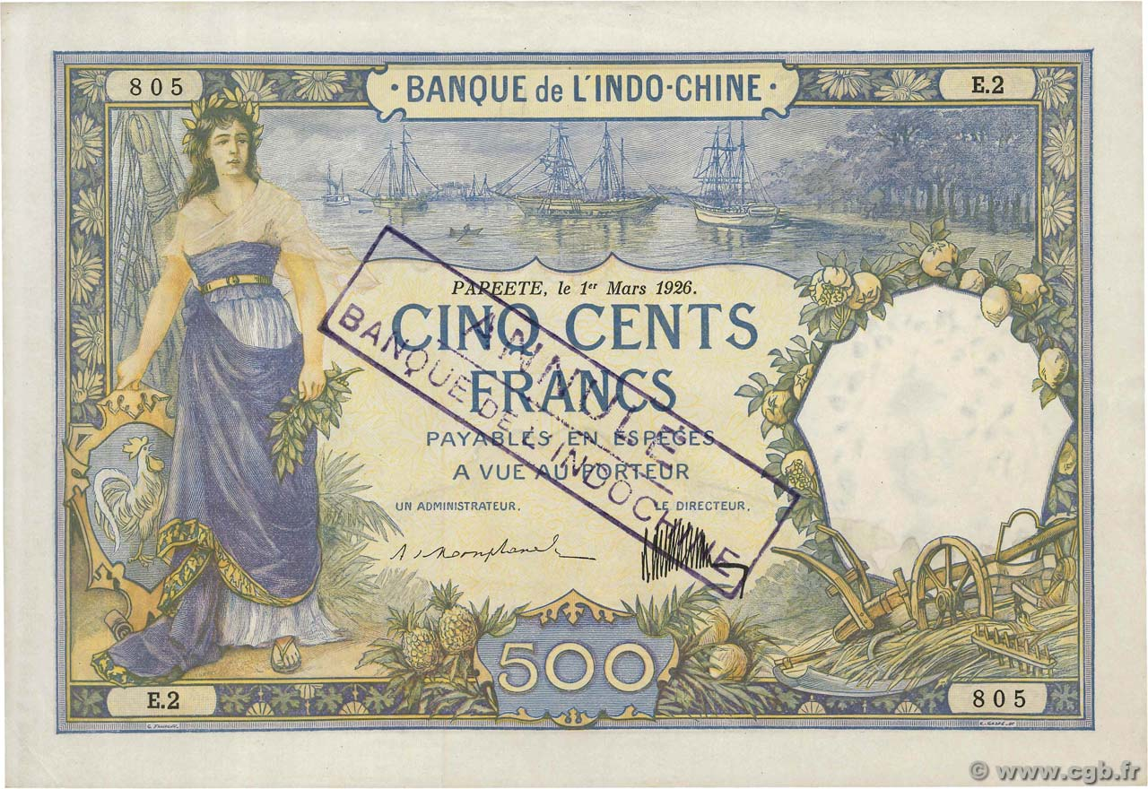 500 Francs Annulé TAHITI  1926 P.13as VZ