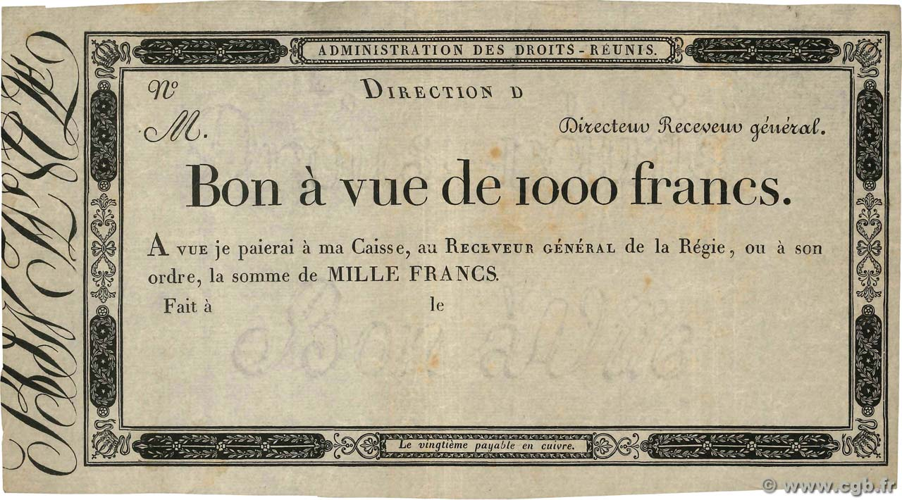 1000 Francs Non émis FRANCE  1804 - VF
