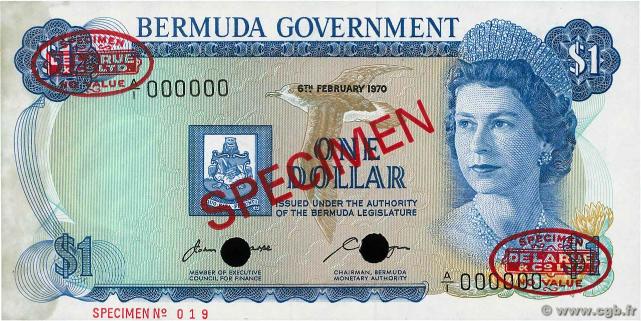1 Dollar Spécimen BERMUDES  1970 P.23as SPL