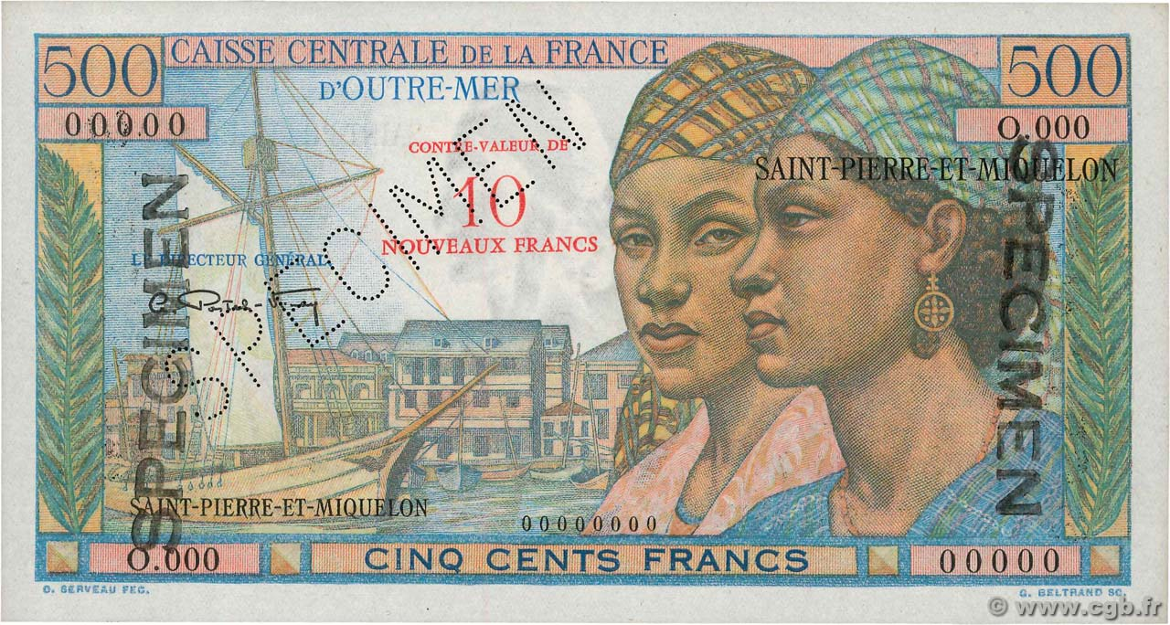 10 NF sur 500 Francs Pointe à Pitre Spécimen SAINT PIERRE AND MIQUELON  1964 P.33s UNC-