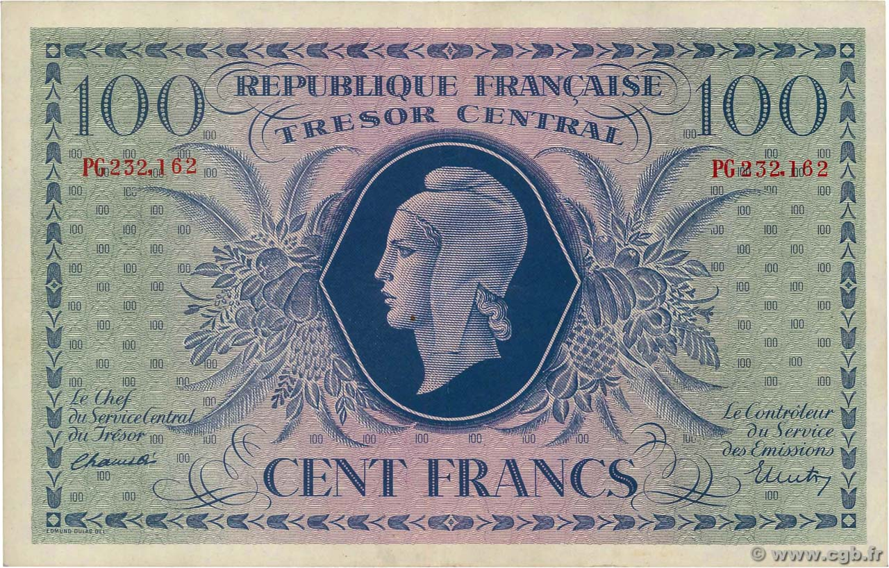 100 Francs MARIANNE FRANCE  1943 VF.06.01a SUP