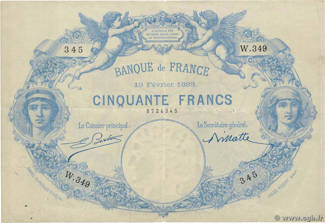 50 Francs type 1884 Indices Noirs FRANCE  1889 F.A47.05 VF+