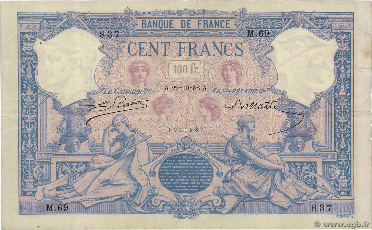 100 Francs BLEU ET ROSE FRANCE  1888 F.21.01 TB+