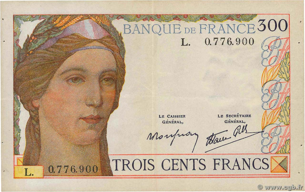 300 Francs  FRANCE  1938 F.29.01 pr.SUP