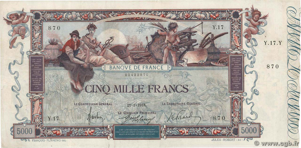 5000 Francs FLAMENG FRANCE  1918 F.43.01 VF