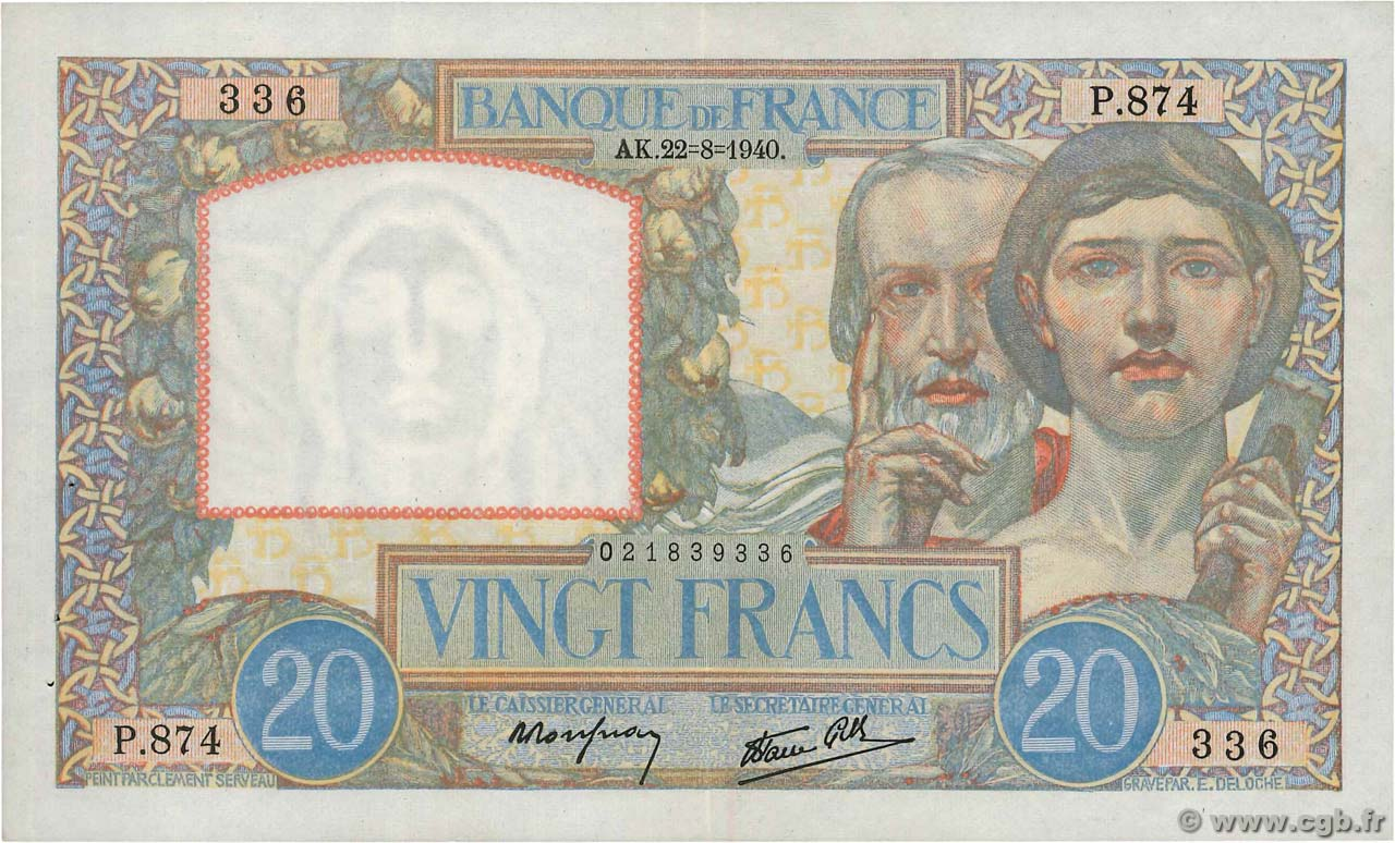 20 Francs TRAVAIL ET SCIENCE FRANCE  1940 F.12.06 XF-